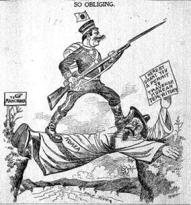 קריקטורה על האימפריאליזם היפני בקוריאה