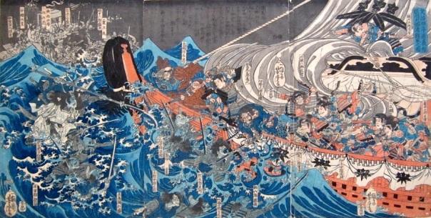 """""""ממתין לך ארמון מתחת לגלים"""" - לוחמי בית טאירה, גבירות החצר והקיסר הילד שוקעים במצולות לאחר קרב דאן-נו-אורה"""