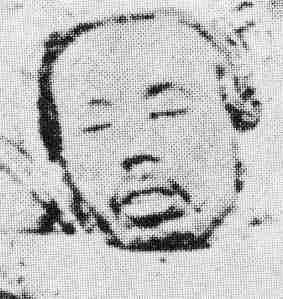 ראשו המוקע של אטו שימפיי, שר המשפטים לשעבר, לאחר כישלון המרד בסאגה