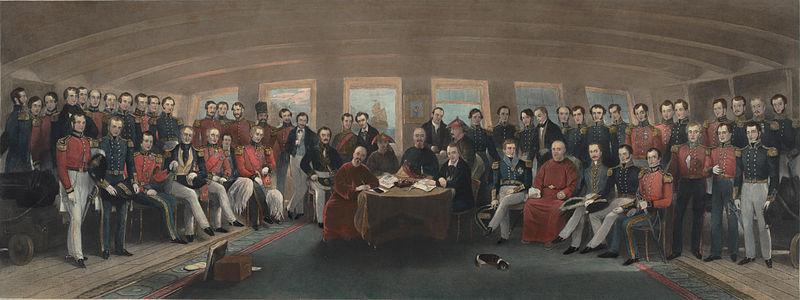 חתימת הסכם ננג'ינג, שסיים את מלחמת האופיום הראשונה. למרות התבוסה המרה, האליטות הסיניות עדיין ניסו לשמר את המיתוס ככל יכולתן.