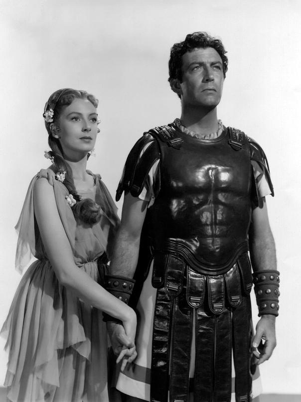 רוברט טיילור ודבורה קר בתפקיד ויניקיוס וליגיה, בסרט קוו ואדיס (1951)