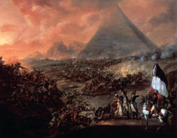 ציביליזציה מנצחת ציביליזציה אחרת - צבאות מצרים נמחצים מול הפלישה הצרפתית בקרב הפירמידות