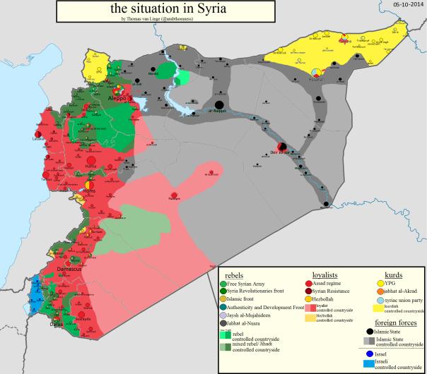 התפרצות רב קוטבית - מפת הסיעות הלוחמות בסוריה