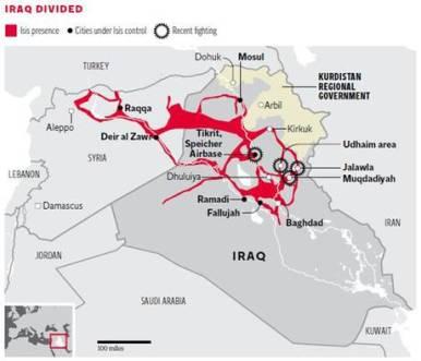 """מפת המערכה בצפון עיראק. שטחי השליטה של דאע""""ש מסומנים באדום. מקור: Independent"""