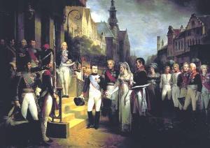 נפוליאון עם מלך פרוסיה פרידריך וילהלם השלישי ורעייתו, המלכה לואיזה. שני השליטים, חרף כל ההבדלים ביניהם, החזיקו באותו נרטיב אסטרטגי.