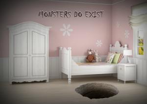 """""""מפלצות קיימות במציאות"""" - אילוסטרציה של מנהרות חמאס המגיעות לתוך חדרי ילדים. קרדיט: רות אלבז"""