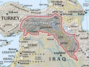 מחולקת בין ארבע מדינות: מפת כורדיסטן